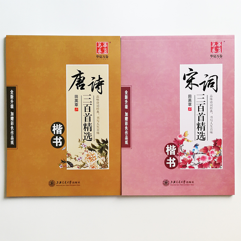2Pcs/set Chinese Calligraphy Copybooks For Pen Kaishu Tang Poem & Song Ci Chinese Characters Exercise Books