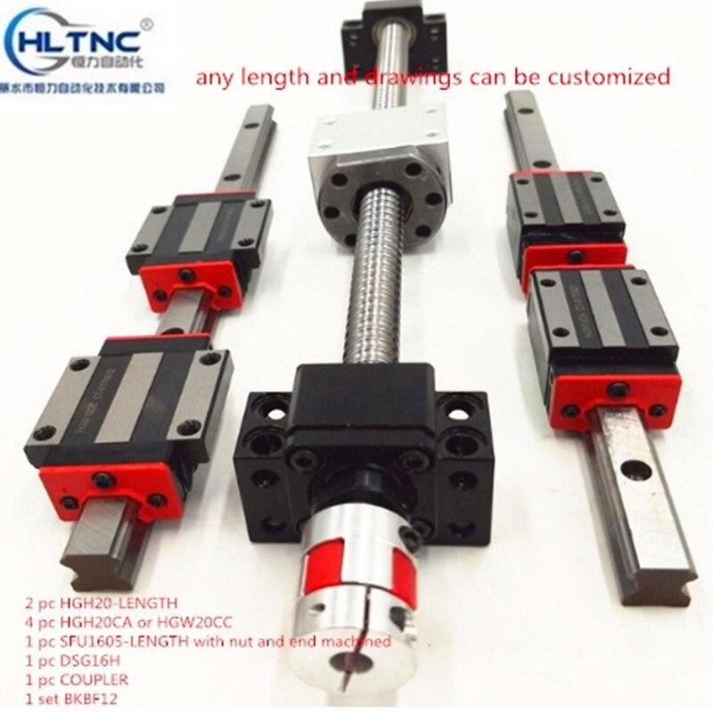 2 piezas HGH20 de cualquier longitud + 1 juego SFU1605 + 4 HGH20CA/hgw20cc guía lineal de alta carga cuadrada de montaje módulo de movimiento lineal de tornillo de bola