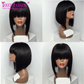 Short Full Lace Brazilian Bob Wigs with Bangs Glueless Lace Front Human Hair Bob Wigs for Black Women with Bleached Knots
