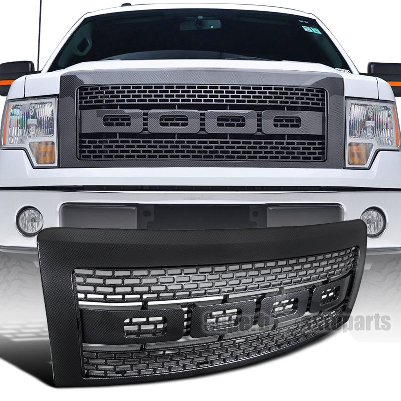 XYIVYG 2009-2014 for Ford F150 ABS Carbon Fiber Look Luxury Raptor Style Front Hood Grille