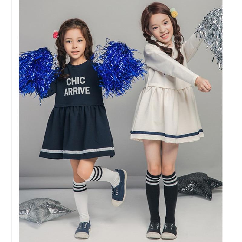 4 to 14 kids & teenager big girls letter print sailor style school uniform cotton casual dresses child fashion blue white dress