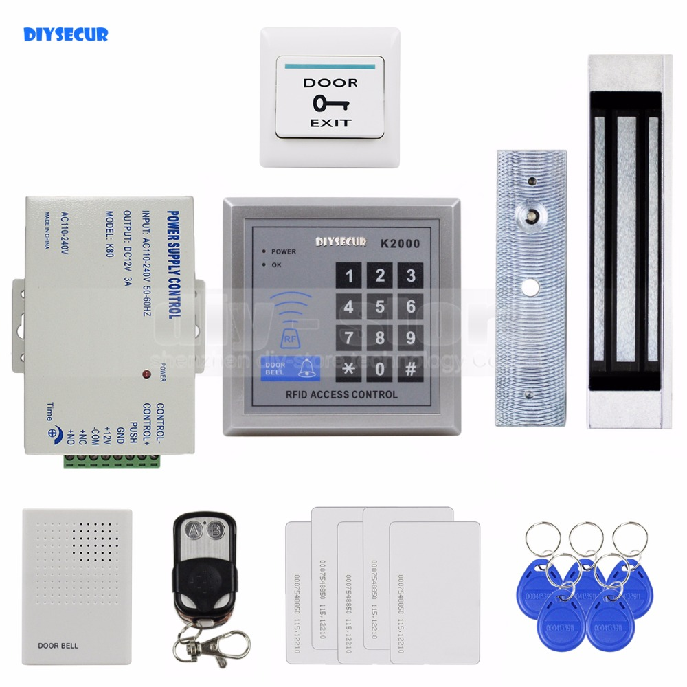 DIYSECUR Door Bell 125KHz Rfid ID Card Reader Keypad Door Access Control Kit + 180KG 350lb Magnetic Lock + Remote Controller good quality smart rfid card door access control reader touch waterproof keypad 125khz id card single door access controller