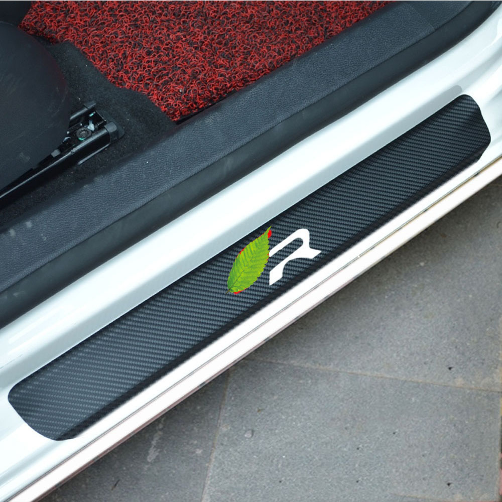 for VW Passat Door Sill Protector Reflective 4D Carbon Fiber Sticker Door Entry Guard Door Sill Scuff Plate Stickers Auto Accessories 4Pcs Blue