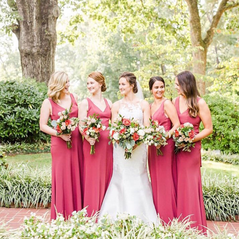Lamiabridal Simple Cheap Pink Chiffon Bridesmaid Dresses Country Wedding Formal Party Dresses Maid Of Honor Gowns 2019 New