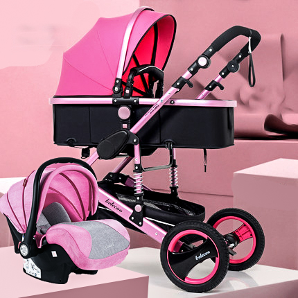 Belecoo 2 In 1 Baby Stroller High Landscape Baby Pram  Two-way Carriage Folding  Light Four-wheel Shock Absorber Baby Trolly