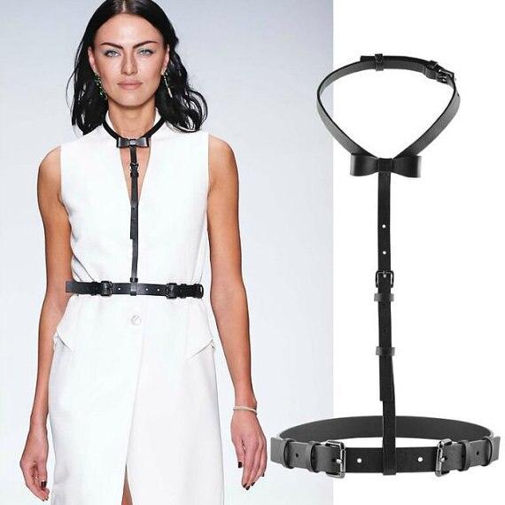 Bow-tie Leather harness,harness,Handmade womens ,Bow Tie,Leather bowtie,Simple harness,choker harnes