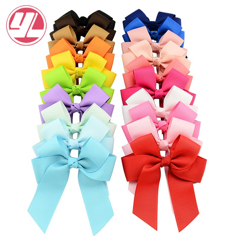20pc/lot 9*10.5cm bow duckbill Grosgrain Ribbon Hair Bows Clip Children Hair Accessories Baby Solid Hairclips For Girl 2542 3 5 inch grosgrain ribbon hair bow diy children hair accessories baby hairbow girl hair bows without clip 16pcs lot