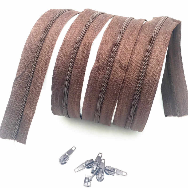 Zipper #3 Coffee Color Nylon Coil Zippers For Sewing