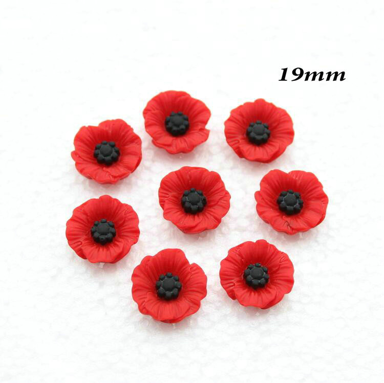 40pcs Chic Resin Red Poppy Flower Artificial Flower Flatback Embellishment Cabochons Cap For Home Decor 19mm