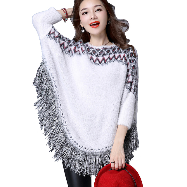 67221251c50716 Autumn Winter Women Poncho Sweater Tassle Fringe Geometric Big Size Mohair  Sweaters Loose Batwing Sleeves Lady Knit Sweater