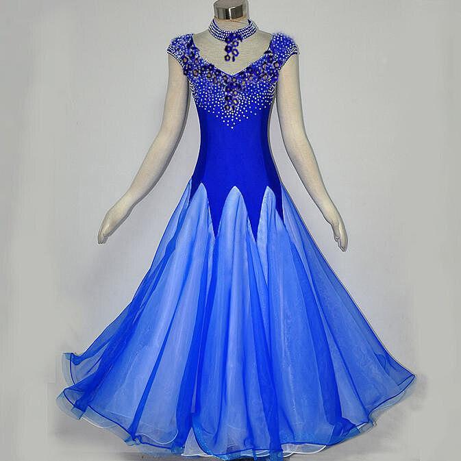Blue Ballroom Dance Competition Dresses Dance Ballroom Waltz Dresses Fringe Modern Dance Costumes Ballroom Dress Foxtrot Dress