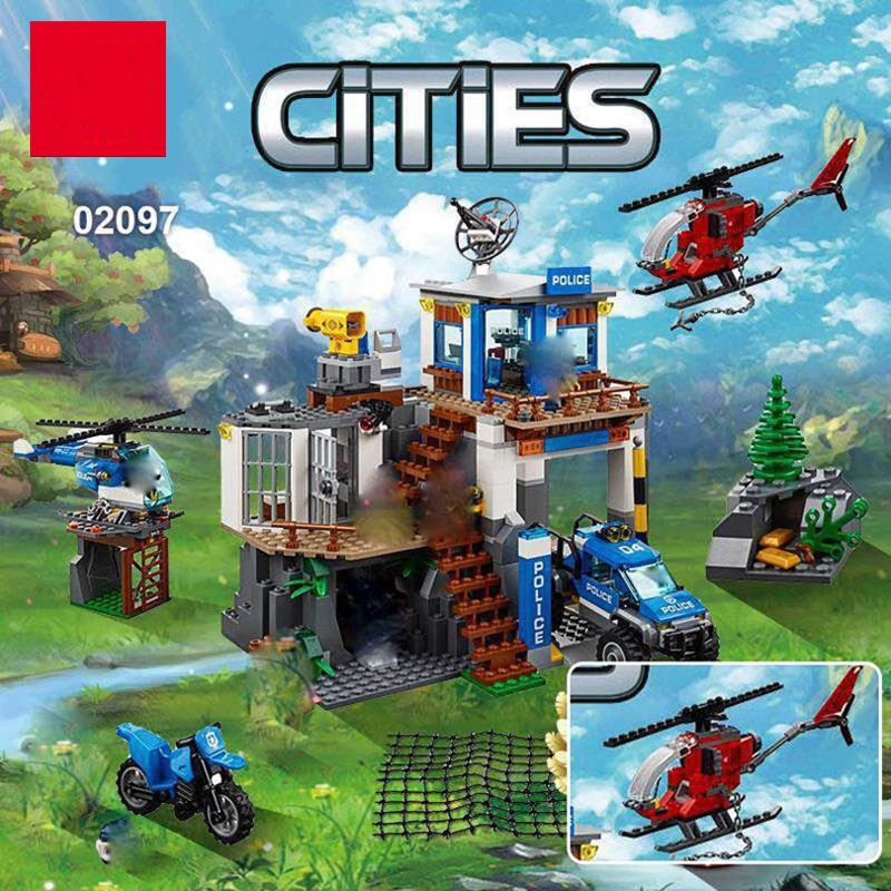 Lepin 02097 New 742Pcs City Series The Mountain Police Headquater Set Building Blocks Bricks Toys 60174 Model As Gifts For Kids 02020 lepin new city series the new police station set children educational model building blocks bricks diy toys kid gift 60141
