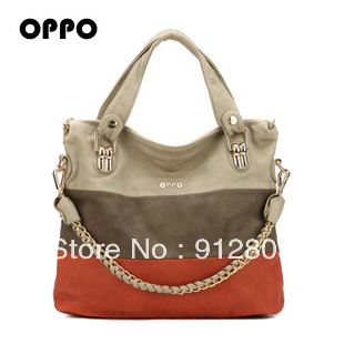 [ANYTIME]Original HK OPPO Brand- Women's [LEATHER] handbags Shoulder Clutch Bag Women Color Block Zipper Bags -Free shipping