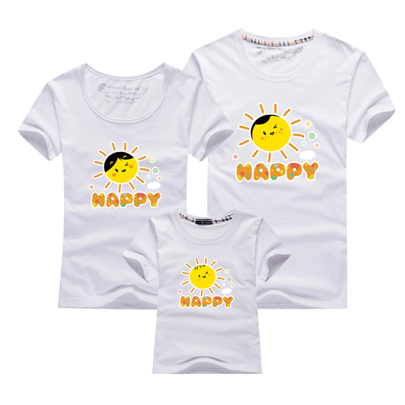 AD Happy sun family matching t-shirts cotton fabric summer father mother daughter son cl ...