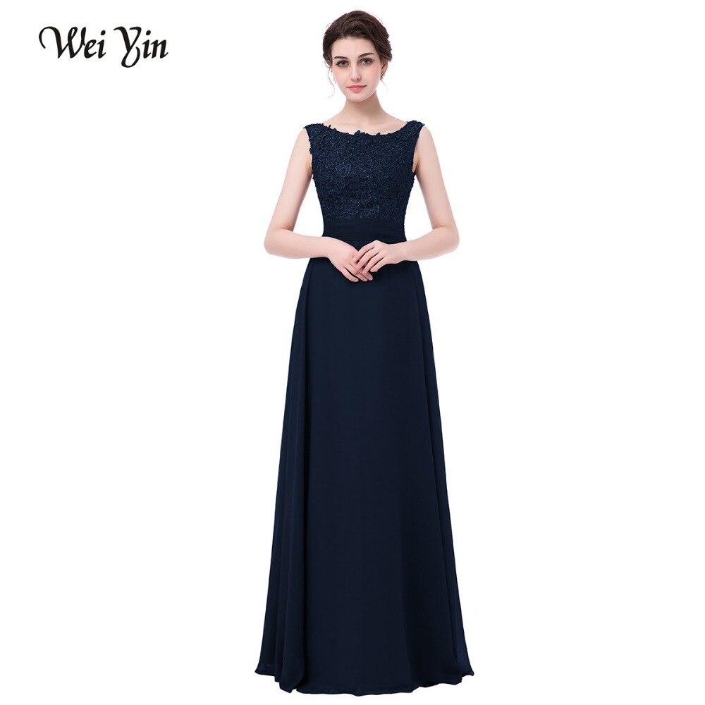 WeiYin robes de soirée longues élégantes femmes robes de soirée col bateau 2017 nouveauté en mousseline de soie Orange robes de soirée formelles