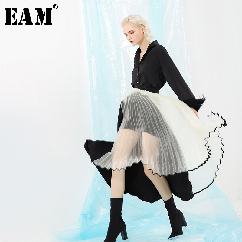 [EAM] 2019 New Spring High Waist Black Loose Hem Organza Perspective Pleated Half-body Skirt Women Fashion Tide JI810