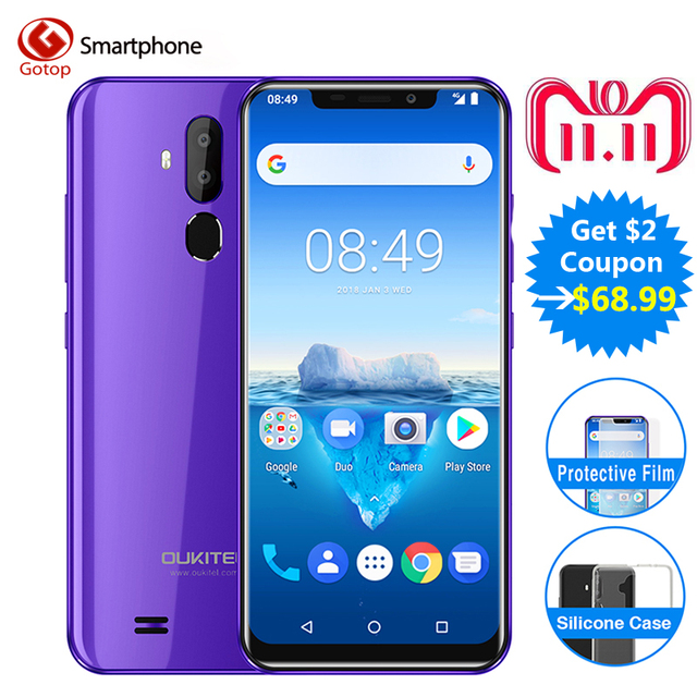 Oukitel C12 Pro Visage ID 6.18 Pouces 19:9 U-cran Affichage Android 8.1 2 gb RAM 16 gb ROM MT6739 3300 mah Batterie 8MP + 5MP 4g Smartphone