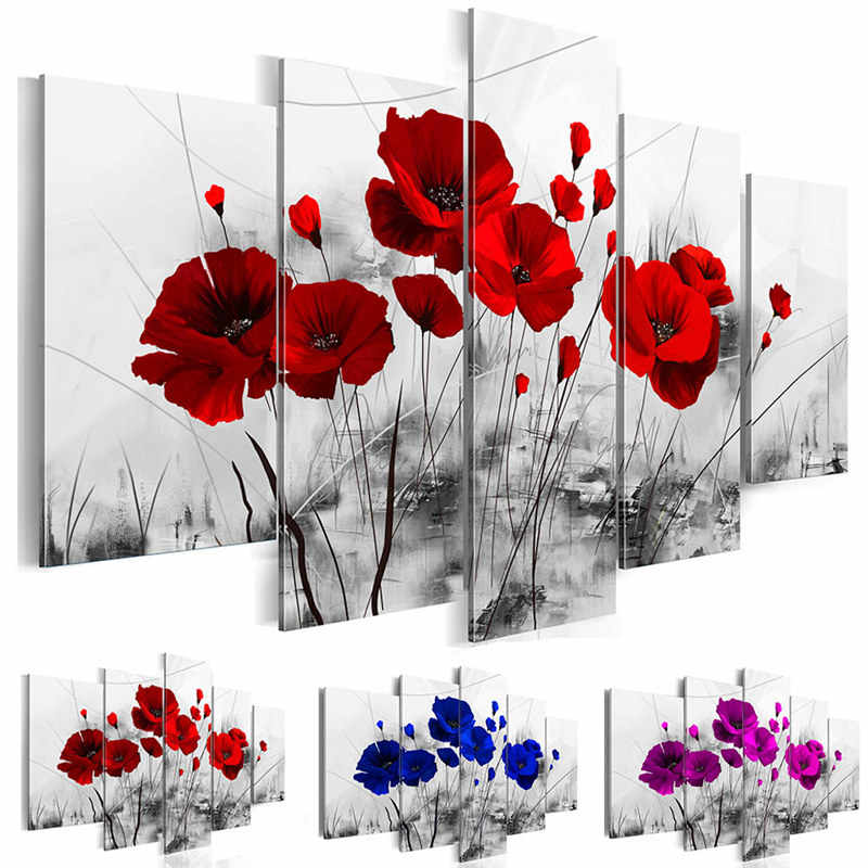 Canvas Pictures Home Decor 5 Pieces Mother Nature's Purple Poppy Flowers Painting Prints Red Blue Floral Poster Bedroom Wall Art