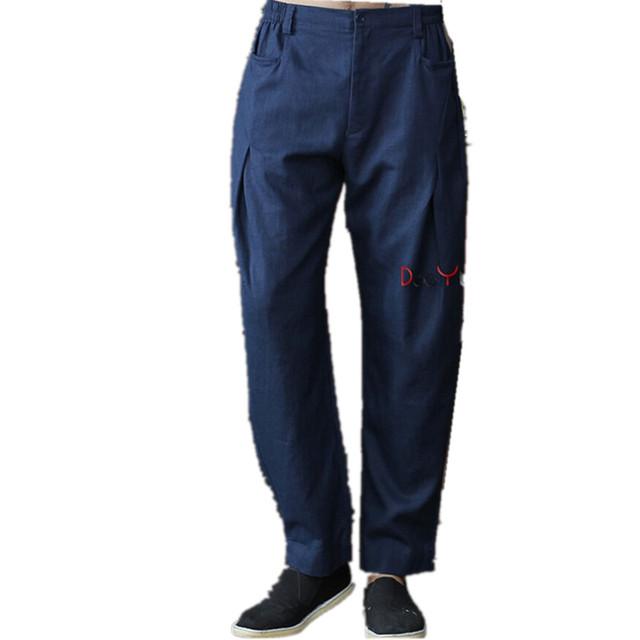 Nova Chegada Calças de Algodão De Linho Kung Fu dos homens Chineses Kung Fu Pant Calças de Tai Chi Wu Shu Calças Tamanho M L XL XXL XXXL