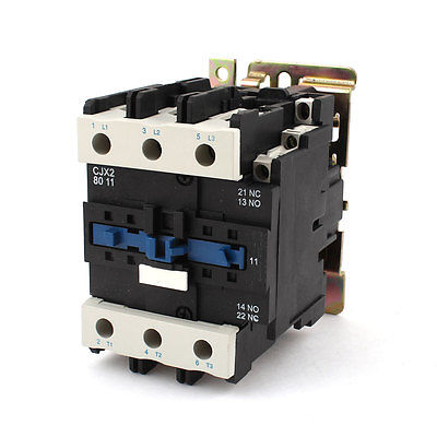 CJX2-8011 220V Coil 75mm DIN Rail Mounted 3-Pole Electric AC Contactor ac motor contactor din rail mount 3 phase 3p 1no 1nc 80a rated current 24v 36v 220v 380v coil volt contacts relay 125a ith