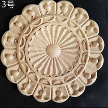2pcs/lot Diameter:200mm. thickness:10-12mm Wood carved circular decals Applique European style