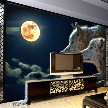 8D Large Mural Night Moon Wolf Wall Art 3d Wallpaper Animal Mural 3D Wall Mural Wall paper for Living Room Background Home Decor фото