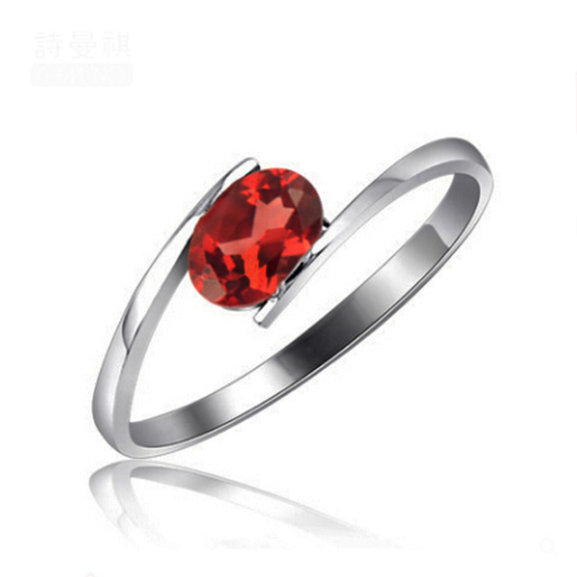 Simple design silver garnet ring 4mm*6mm natural red garnet gemstone ring solid sterling silver fashion gemstone ring for woman