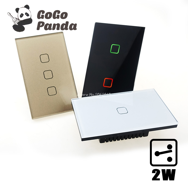 GOGOPANDA US Standard 1 Gang 2 Way Control Touch on/off Switch Wall Light Controller Smart Home Automation 2Gang 3Gang цена