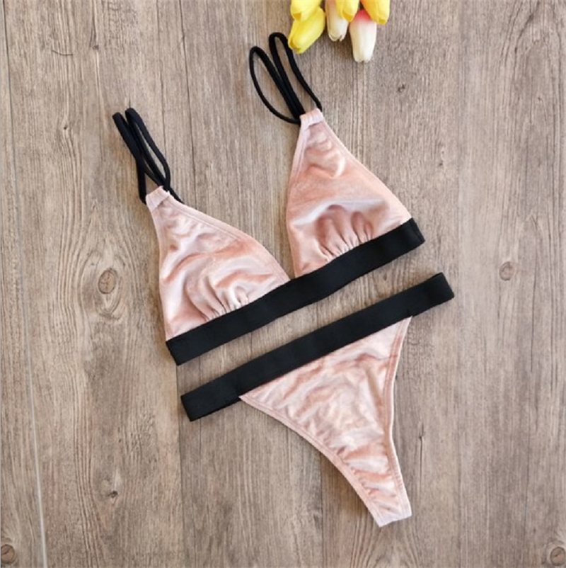<font><b>Sexy</b></font> <font><b>Women</b></font> Swimsuits <font><b>2018</b></font> New Pop Fur Stylish Solid <font><b>Swimwear</b></font> Bathing <font><b>Bikini</b></font> Bandage Bra Push-up Suit Swimsuit image
