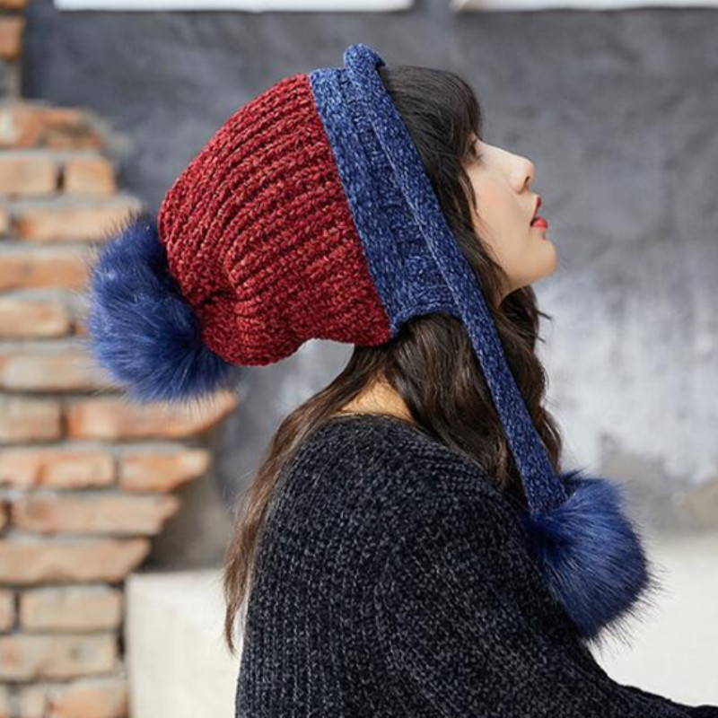 76ddfd53e83 oZyc Girl Warm Ski New Brand Big Fur Pom Poms Warm Gloves + knit hat set