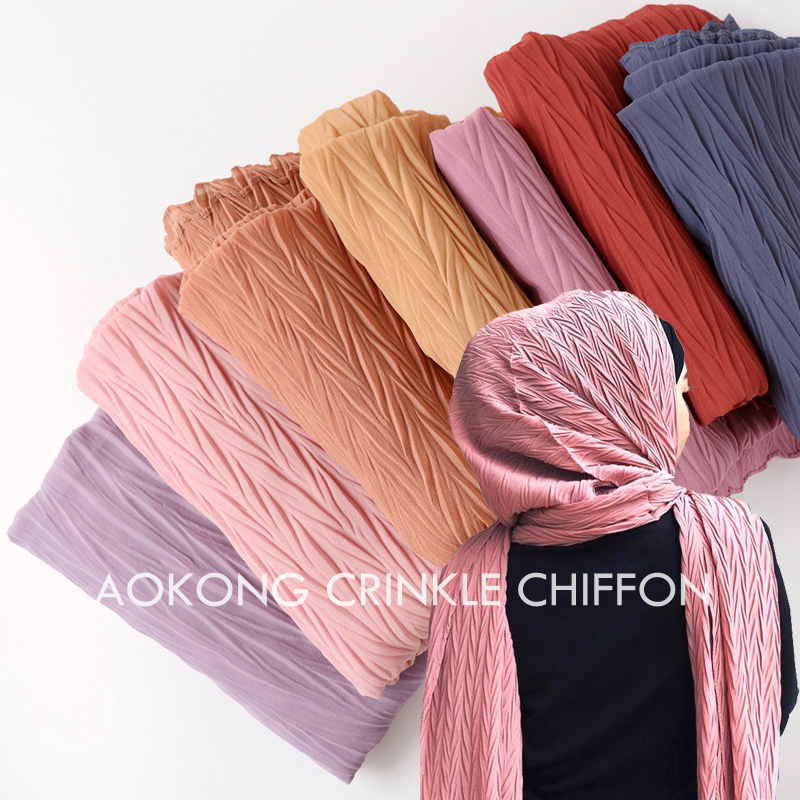 10pcs lot new women solid plain pleated chiffon hijab scarf wraps long islam shawls muslim crinkle