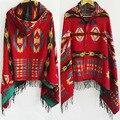 Grandes bufandas de cachemira bufanda de invierno poncho mujeres Bohemio Chal Bufanda Tribal Fringe Sudaderas mantas Cape mantón Ponchos y capas