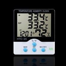 Nueva marca Digital de Interior Al Aire Libre Termómetro Higrómetro LCD Temperatura Humedad Tester HTC-2A Reloj Con 1.5 M Cable Sensor