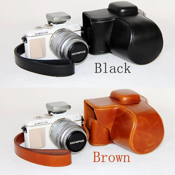 Leather Camera Case Cover Bag for Olympus PEN <font><b>E</b></font>-PM1,<font><b>E</b></font>-PM2,<font><b>E</b></font>-PL3,<font><b>E</b></font>-<font><b>PL5</b></font>, EPM1,EPM2,EPL3,EPL5, <font><b>E</b></font> PM1, PM2, PL2, <font><b>PL5</b></font> camera case bag