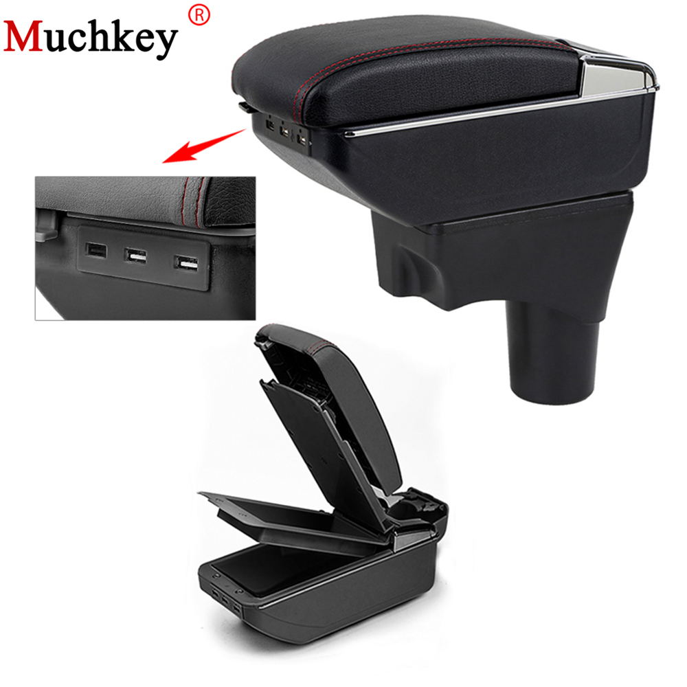 USB Armrest Box For Nissan Sunny Versa 2011 To 2016 Central Store Content Box Cup Holder Console Arm PU Leather Car Styling
