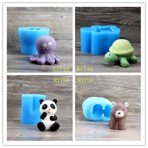 Nicole Silicone Flexible Candle Soap Chocolate Fondant Cartoon Whale Tortoise Octopus Panda Bear Animal Easy Stripping