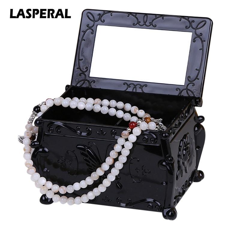 LASPERAL Creative Clamshell Storage Box & Bins Makeup Organizer Butterfly Comestic Box Desktop Jewelry Box Sundries Mirror