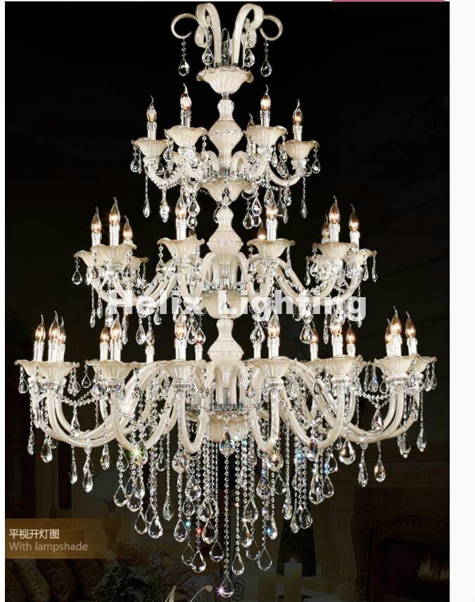 Champagne Whitel D150cm H200cm 32 Bras E14 LED Royal Lustre En Cristal D'or Hôtel Moderne Lustre En Cristal 100% Garanti
