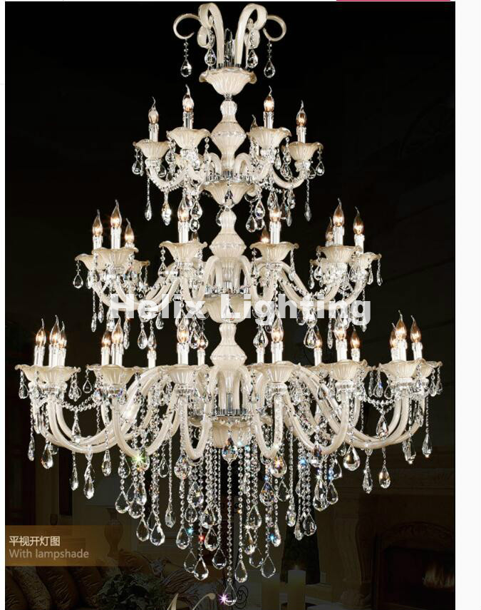 Champanhe Whitel D150cm H200cm 32 Braços E14 LEVOU Lustre de Cristal Real Golden Hotel Lustre De Cristal Moderna 100% Garantido