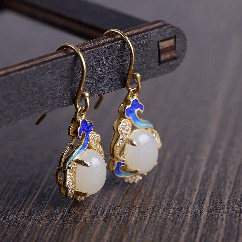 S925 argent plaqué or femme mode nationale vent brûlé bleu mosaïque marbre xiangyun boucles d'oreilles en argent en gros