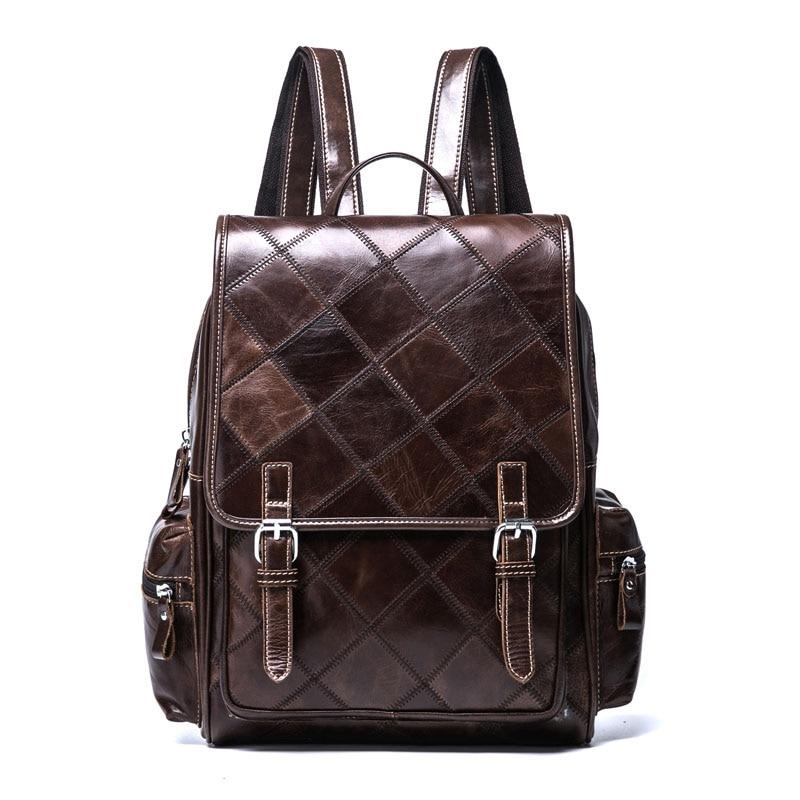 Women Backpack Genuine Leather Large Capacity Leather Ladies Backpacks for School Bag Female Shoulder Bag Travel Bag Back Pack