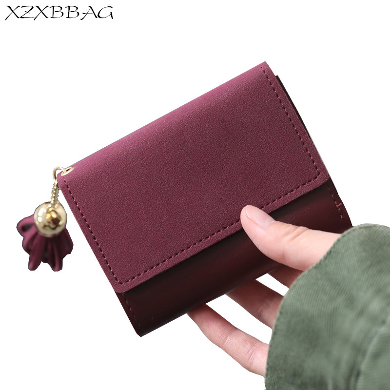 XZXBBAG Fashion Women Hasp Tassels Short Wallets Female PU Coin Purse Girl Multifunction Money Bag Simple Students Card Bag cute girl hasp small wallets women coin purses female coin bag lady cotton cloth pouch kids money mini bag children change purse