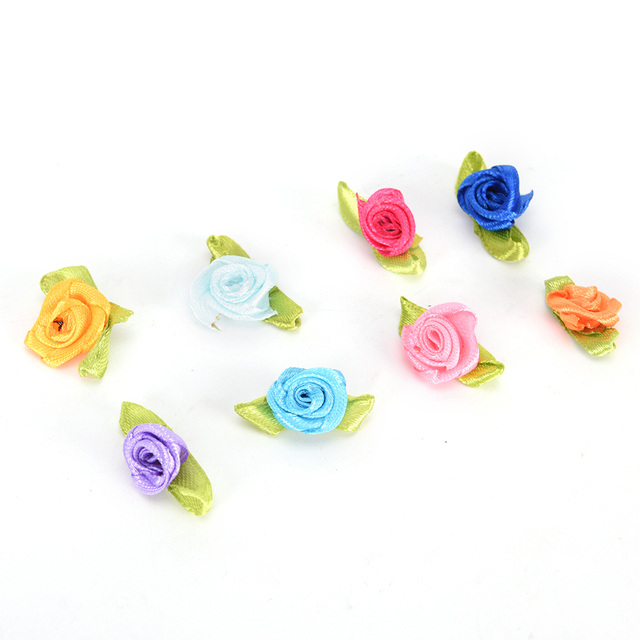 100Pcs Mini Handmade Satin Rose Headwedding Scrapbooking Decoration Mixed  Colors Small Rose Flower Sewing Supplier Accessories