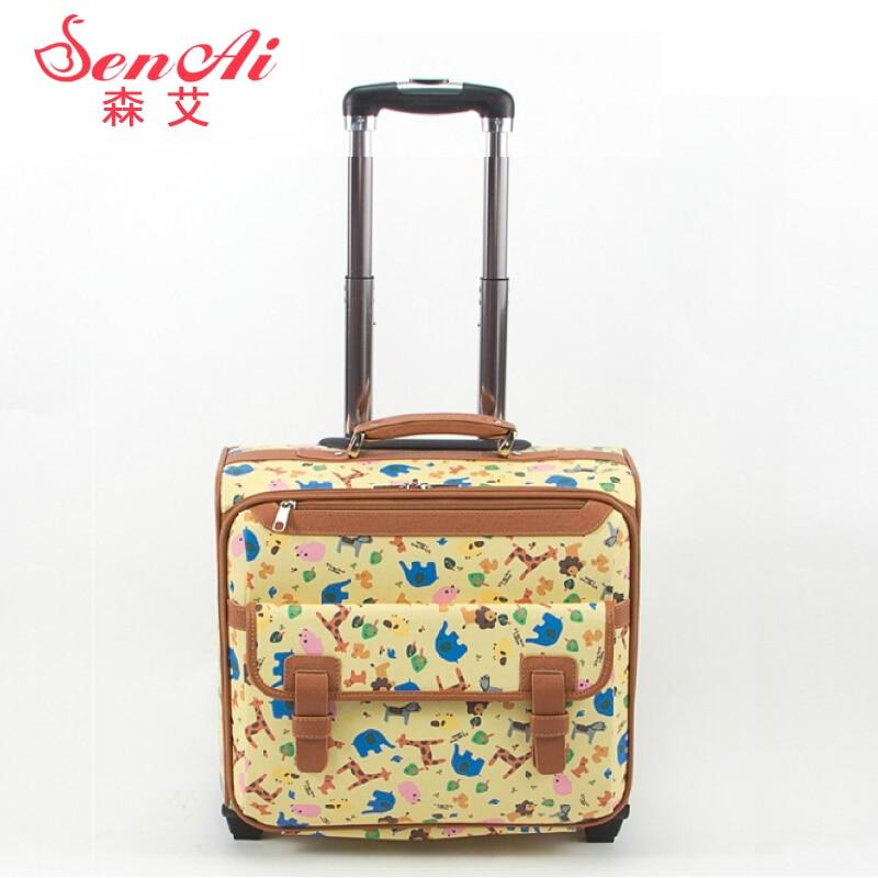 Sen ai 16 мішок мультфільм подорожі багаж мішок м'які коробки невеликий багаж шкіряні коробки, квітка крапка друкованих lovley подорожі багаж сумки  t