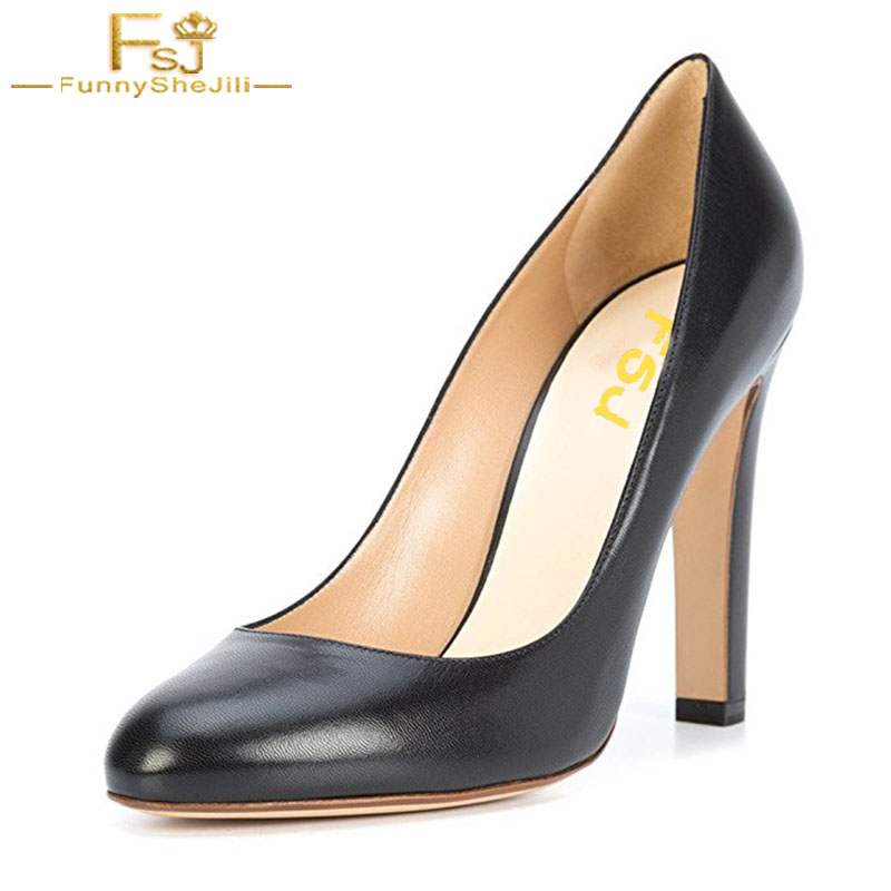 FSJ Spring Autumn Women Elegant Ladies High Chunky Heels Shoes Round Toe Formal Pumps Slip On Office Dress Shoes For Work Size women shoes pumps spring 2017 thick low heels autumn elegant slip on pointed toe casual shoes ladies office wear big size 41 42