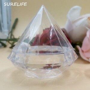 Image 2 - 24 個明確なダイヤモンドボックスキャンディーボックス結婚式の好意のギフトボックス透明なプラスチックの箱結婚式 Favours お土産ゲスト