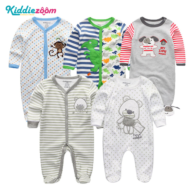 1bfb450bae6 2018 3 4 5PCS lot Newborn Baby Boy Rompers Full Long Sleeve Cotton Jumpsuit  O-Neck 0-12M Baby Body Clothes Inftant Girl Clothing