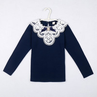 4T To 12T Kids Teenager Girls Blue White Lace Ruffle Long Sleeve Cotton Casual Base T