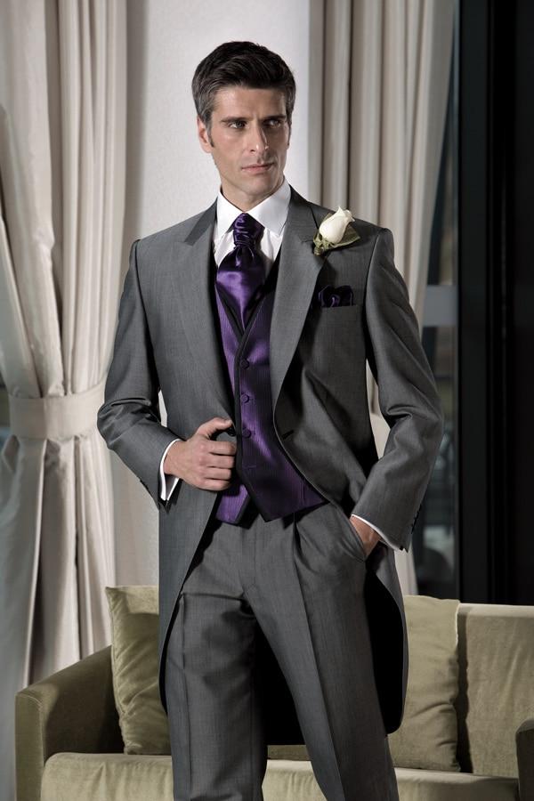 f814abe4d0e15 Gri doruğa yaka erkek takımları moda sihirli zarif Custome Made Terno  Masculino 3 adet (ceket + pantolon + yelek + kravat) resmi Slim Fit
