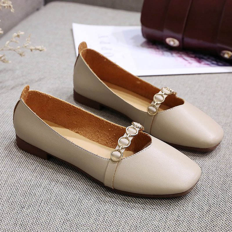 HEE GRAND 2019 New Spring Women Flats Solid Slip-On Causal Square Toe Shoes String Bead PU Leather Flats Size 35-40 XWD7578 5